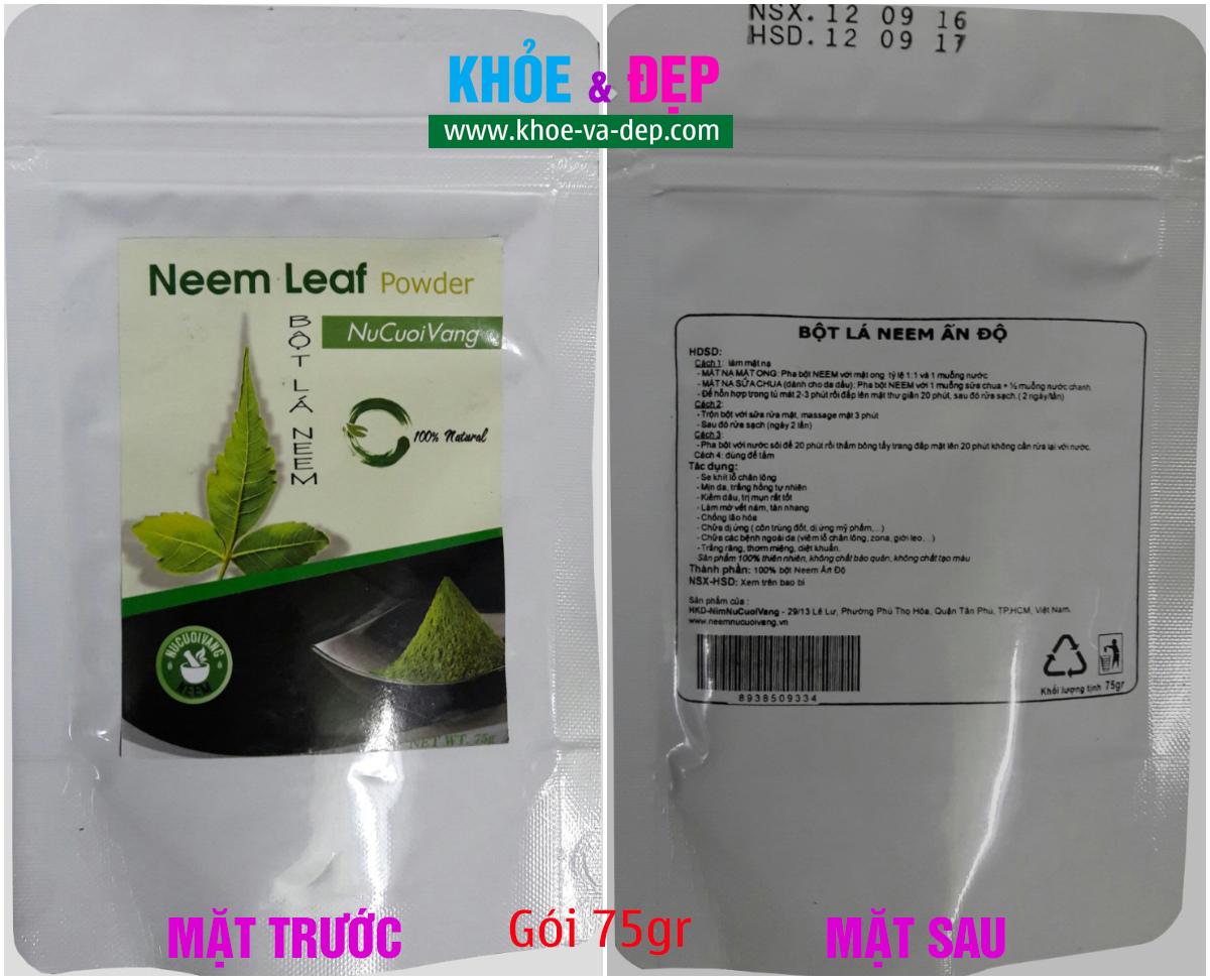 Hình bột neem NuCuoiVang gói 75gr